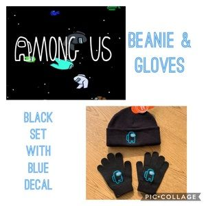 NWT beanie & gloves set black with blue decal